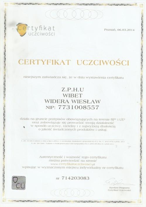 certyfikat uczciwości wibet